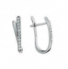Серебряные серьги Мэдди с кристаллами циркония