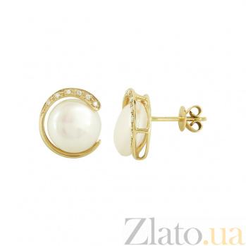 Золотые серьги с жемчугом и бриллиантами Марджи 1С193-0424