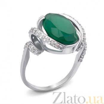 Серебряное кольцо с зеленым агатом Мила 1690/9р зел.агат