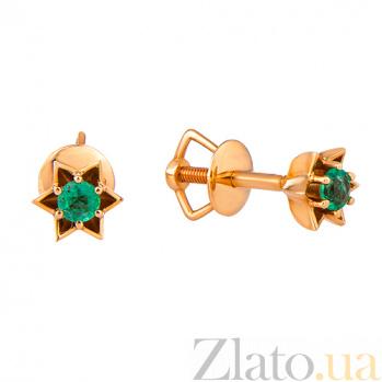 Золотые сережки с изумрудами Ночные звезды KBL--С2515/крас/изум