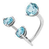 Серебряное родированное кольцо с топазами Сезам