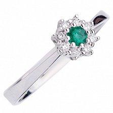 Золотое кольцо Виенна с изумрудом и бриллиантами