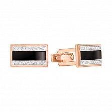 Запонки из красного золота с черным ониксом и фианитами 000134430