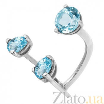 Серебряное родированное кольцо с топазами Сезам 000017390