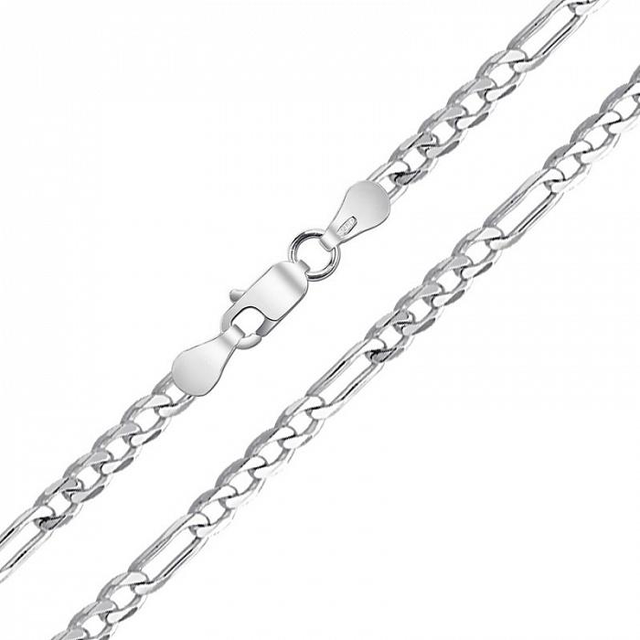 Серебряная родированная цепь Фигаро в плетении картье, 6мм 000082706