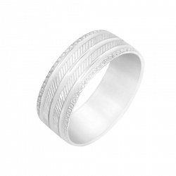Серебряное обручальное кольцо с насечками 000091620