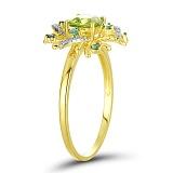 Золотое кольцо с хризолитом, изумрудами и бриллиантами Весенняя надежда