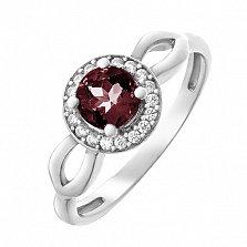 Серебряное кольцо Линара с гранатом и фианитами