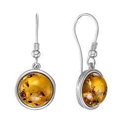 Серебряные серьги-подвески с янтарем 000146460