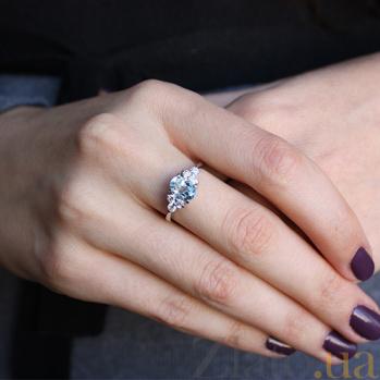 Серебряное кольцо Шарлиз с топазом и фианитами 000032406