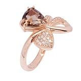 Золотое кольцо с раухтопазом Адамайн