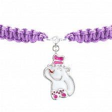 Браслет детский Мишка с бабочкой, плетеный с cеребряной подвеской, эмалью и фианитом, 10х20см