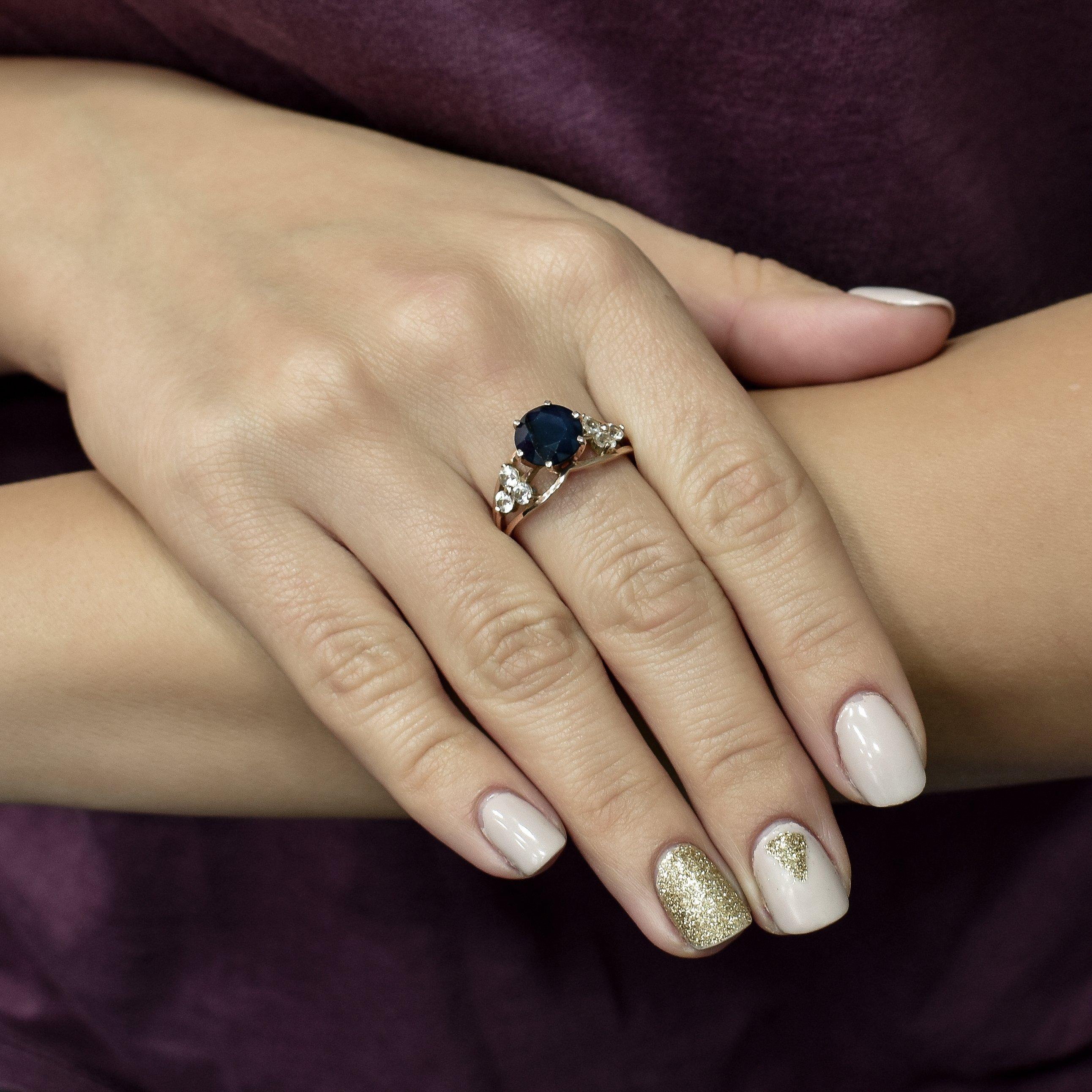 Кольцо в красном золоте Руслана с сапфиром и топазом