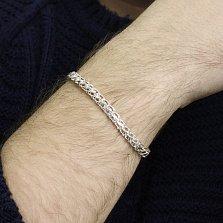 Серебряный браслет Одиссей в плетении бисмарк ручеек
