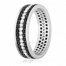 Кольцо из серебра Черно-белое кино с фианитами