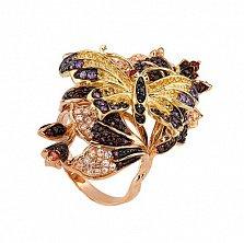 Кольцо Весенняя любовь в красном золоте с фианитами