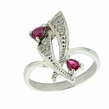 Серебряное кольцо с бриллиантами и рубинами Паулина