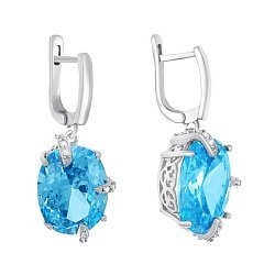 Серебряные серьги-подвески с голубыми фианитами 000029100