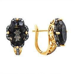 Золотые серьги в комбинированном цвете с раухтопазами и бриллиантами 000139431
