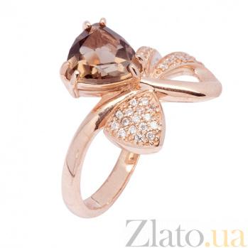 Кольцо в красном золоте Сюрприз с раухтопазом и фианитами SVA--1190722101/Раухтопаз/Дым.кварц