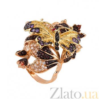 Кольцо Весенняя любовь в красном золоте с фианитами VLT--ТТ1353-2-4