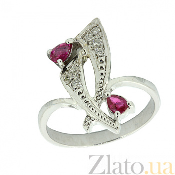 Серебряное кольцо с бриллиантами и рубинами Паулина ZMX--RDR-6149-Ag_K