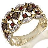 Кольцо из желтого золота Тереза с раухтопазами и бриллиантами