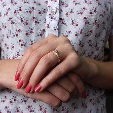 Золотое помолвочное кольцо Сияние чувств с фианитами