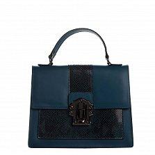 Кожаная сумка на каждый день Genuine Leather 8835 синего цвета с металлической застежкой