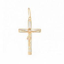 Крестик из комбинированного золота Благодать