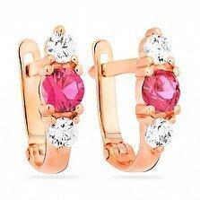 Золотые серьги Леди с розовыми и белыми фианитами