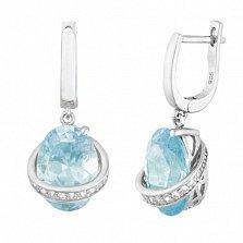 Серебряные серьги-подвески с голубыми фианитами Орбита