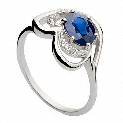 Кольцо из белого золота с сапфиром и бриллиантами Лара