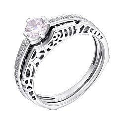 Серебряное кольцо-трансформер с узорной шинкой и фианитами 000102054