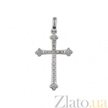 Крест в белом золоте с бриллиантами Святость 000026759
