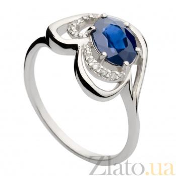 Кольцо из белого золота с сапфиром и бриллиантами Лара 000030338