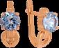 Золотые серьги с голубым топазом Дания 000029454