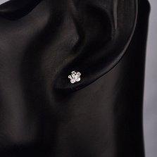 Серебряные серьги-пуссеты Дивный цветочек с белым цирконием