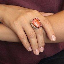 Серебряное кольцо Пустыня с имитацией опала