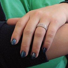 Серебряное кольцо Ажурная коса с завальцованными фианитами