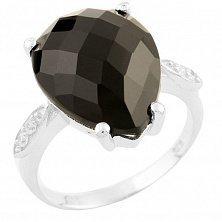 Серебряное кольцо Леонида с черным ониксом и фианитами