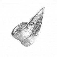 Серебряное кольцо Роса на листке с фианитом