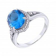 Серебряное кольцо Лайма с голубым кварцем и фианитами