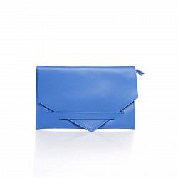Кожаный клатч Genuine Leather 8056 синего цвета с плечевым ремнем и молнией-застежкой
