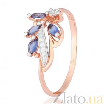 Серебряное кольцо Олимпия с синим и белым цирконием, позолотой 000028446