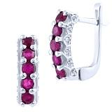 Серебряные серьги Тришна с рубинами и фианитами