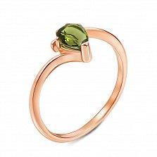 Кольцо из красного золота с хризолитом 000131303