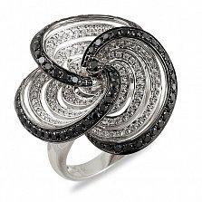 Кольцо из белого золота Джейден с черными и белыми бриллиантами