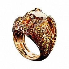 Золотое кольцо с бриллиантами, сапфирами и рубинами Дивная Диана
