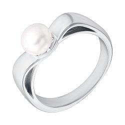 Серебряное кольцо со вставкой- имитацией жемчуга 000129455